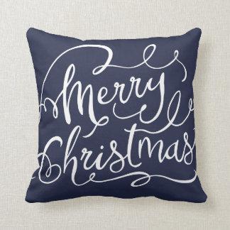 Coussin Carreau moderne de Joyeux Noël de rayures