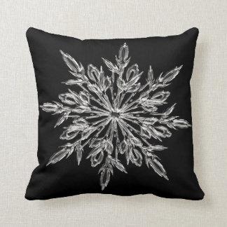 Coussin Carreau noir décoratif de flocon de neige de Noël