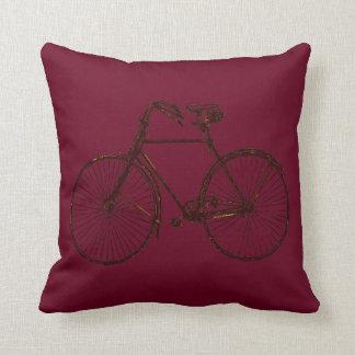 Coussin Carreau noir rouge de bicyclette d'or merlot