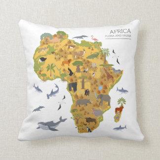 Coussin Carte de l'Afrique | Flora et faune