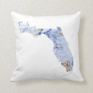 Coussin Carte d'état de la Floride de bleu et d'or