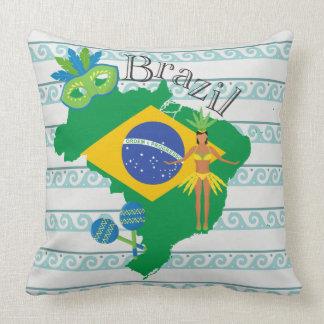 Coussin Carte du Brésil avec le drapeau de Brazillian