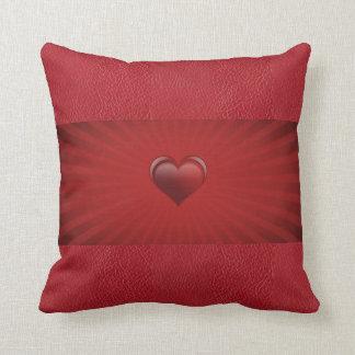 Coussin Centre de mon cuir de rouge de coeur