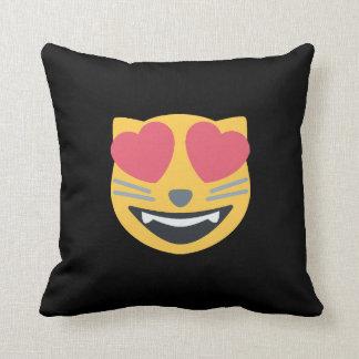 Coussin Chat d'Emoji observé par coeur Kitty