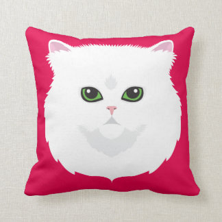 Coussin Chat persan blanc