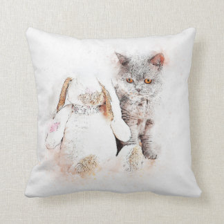 Coussin Chaton d'aquarelle et ami de lapin