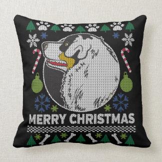 Coussin Chien laid de chandail de Noël de berger