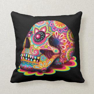 Coussin coloré de crâne de sucre - jour de l art m