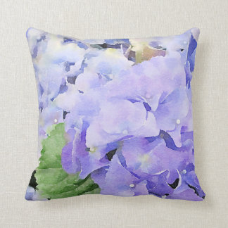 Coussin Conception bleue d'aquarelle d'hortensias