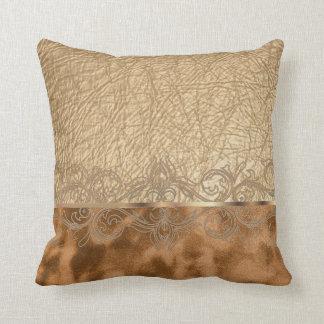 Coussin Conception bronzage de texture de cuir et de suède