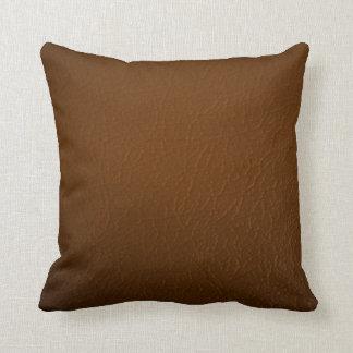 Coussin Conception en cuir de texture de Brown de Faux