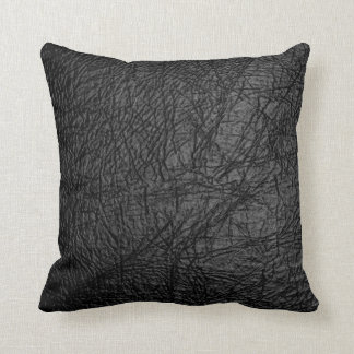 Coussin Conception en cuir noire de texture de Faux