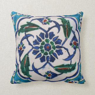 Coussin Conception florale bleue et blanche de tuile d'ère