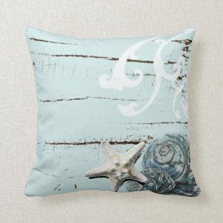 Coussin Coquillages bleus d'étoiles de mer d'aqua en bois
