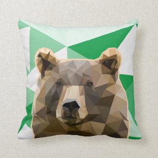 Coussin Coutume moderne d'ours de Brown de polygone
