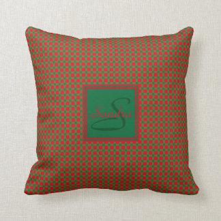 Coussin Coutume rouge et verte de Noël de guingan de motif