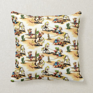 Coussin Cowboy vintage - cow-girls - chevaux - ranch
