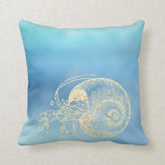 Coussin Crabe d'or d'Ombre Tiffany d'Aqua de bleu d'océan