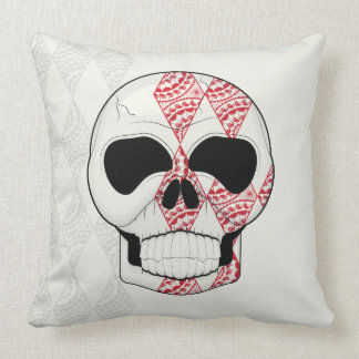 Coussin Crâne avec l'art de diamants de dentelle avec le