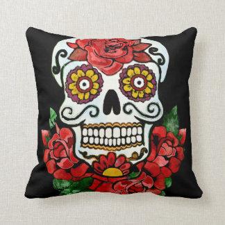 Coussin Crâne floral de sucrerie de BooPooBeeDoo