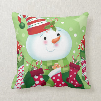 Coussin de bonhomme de neige de menthe poivrée