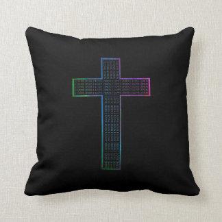 Coussin de croix de Jésus d'arc-en-ciel