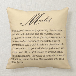 Coussin de description de vin merlot