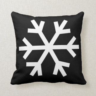 Coussin de flocon de neige - noir