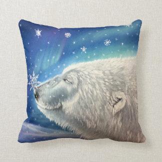 Coussin de flocons de neige d'ours blanc