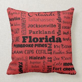 Coussin de typographie de villes de la Floride