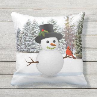 Coussin de vacances de bonhomme de neige et de