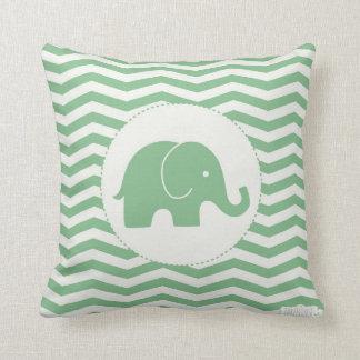Coussin de vert d'éléphant de bébé/chevron de