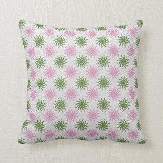 Coussin décoratif de motif vert et rose des