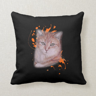 Coussin Dessin de chat tigré et de peinture oranges sur le