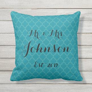 Coussin D'extérieur M. et Mme Wedding Pillow Turquoise et bleu