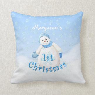 Coussin ęr Coutume heureuse de bonhomme de neige de Noël