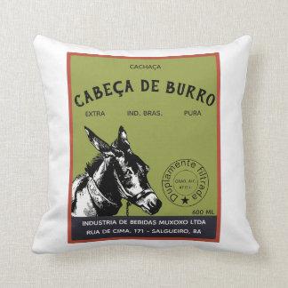 Coussin Étiquette de tête d'âne de Cachaça