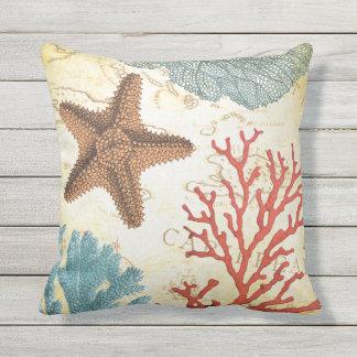 Coussin Étoiles de mer et corail des Caraïbes colorés