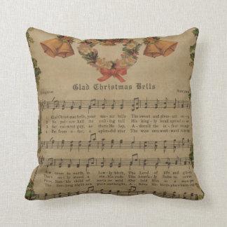 Coussin Feuille de musique vintage de chant de Noël