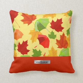 Coussin Feuille et parapluies d'automne