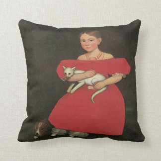 Coussin Fille d'Ammi Phillips en rouge avec son chat et