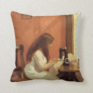 Coussin FILLE d'Edward Hopper à la MACHINE À COUDRE 1921