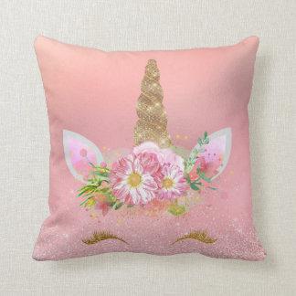 Coussin Fleurs de sourire de charme d'or de rose de rose