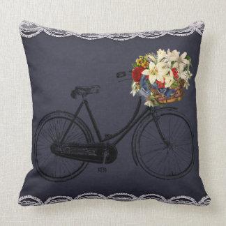 Coussin fleurs extérieures ou d'intérieur bleues de vélo