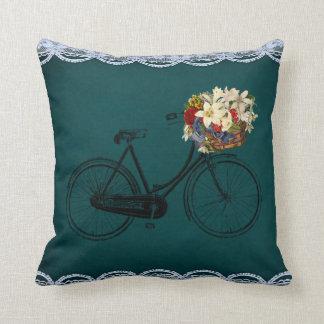 Coussin Fleurs extérieures ou d'intérieur vertes de vélo