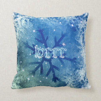 Coussin Flocon de neige congelé d'aquarelle - brrr