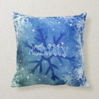 Coussin Flocon de neige congelé d'aquarelle - frais