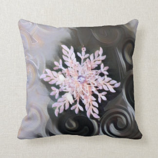 Coussin Flocon de neige de Noël avec l'ornement monochrome