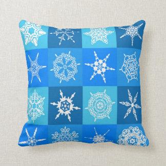 Coussin Flocon de neige sur le motif bleu