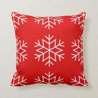 Coussin Flocons de neige de Noël sur le carreau rouge